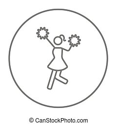 Cheerleader line icon - Cheerleader line icon for web,...