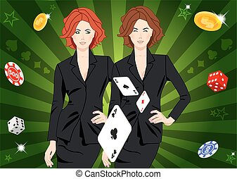 Confident lucky girl throws aces - Confident beautiful lucky...