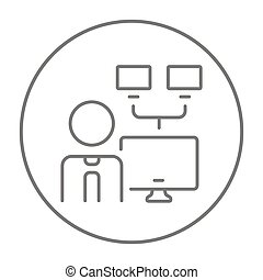 Network administrator line icon - Man with linked monitors...