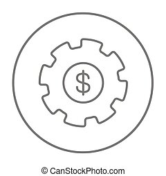 Gear with dollar sign line icon. - Gear with a dollar sign...