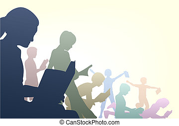 Book club - Editable vector illustration of children reading...