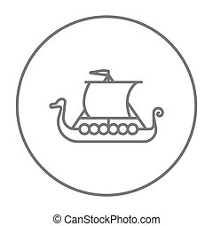 Old ship line icon. - Old ship line icon for web, mobile and...