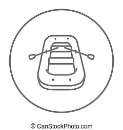 Inflatable boat line icon. - Inflatable boat line icon for...