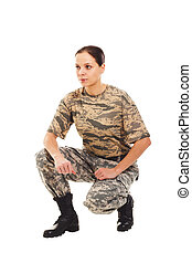 Soldier: girl in the military uniform - Young girl-soldier...
