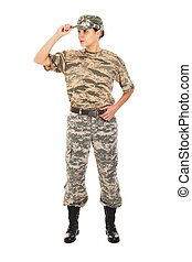 Soldier in the military uniform - Young girl soldiers in...