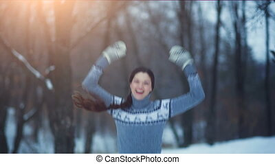 Woman rejoices and Showing Thumbs Up - Young woman showing...