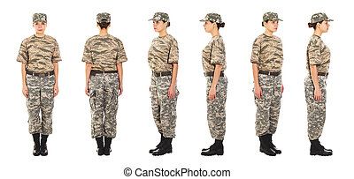 Soldier in the military uniform - Girl-soldier in the...
