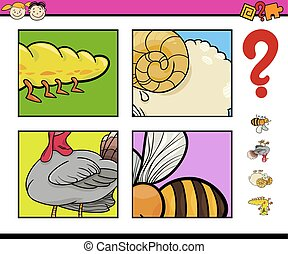 educational game with animals - Cartoon Illustration of...
