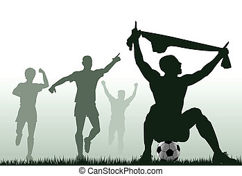 Scored - Editable vector silhouette of a soccer player...