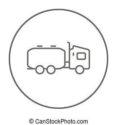 Truck liquid cargo line icon - Truck liquid cargo line icon...