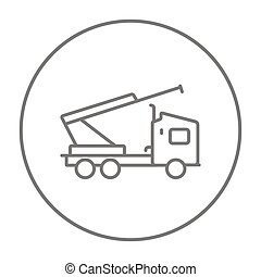Machine with a crane and cradles line icon.