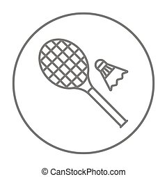 Shuttlecock and badminton racket line icon - Shuttlecock and...