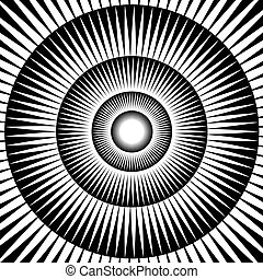Hypnotica - Concentric circles and radial lines create an...