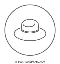 Summer hat line icon - Summer hat line icon for web, mobile...