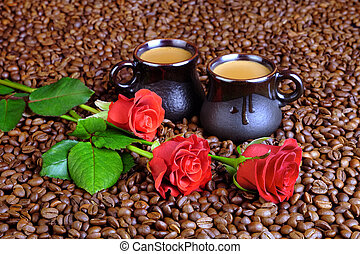 Red roses and coffee with milk