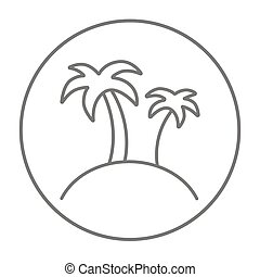 Two palm trees on island line icon.