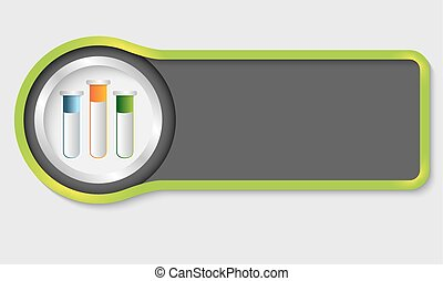 Abstract button for your white text and test tubes