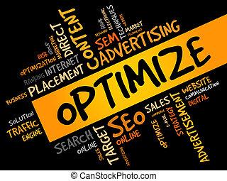 OPTIMIZE word cloud, business concept