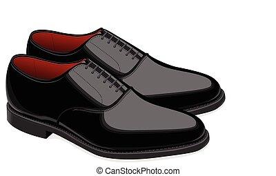 homens, pretas, sapatos