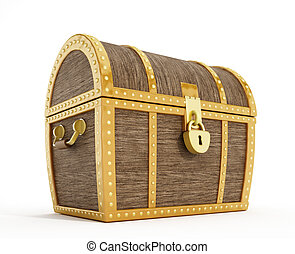 Treasure chest - Isolated treasure chest with gold sealed...