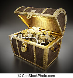 Treasure chest full of treasures. Texture on the coins is...