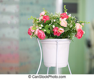decoration artificial flower in white pot - Colorful...
