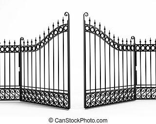 Black iron gate isolated on white background