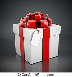 Giftbox wrapped with red ribbon isolated on black