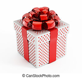Giftbox decorated with heart symbols isolated on white