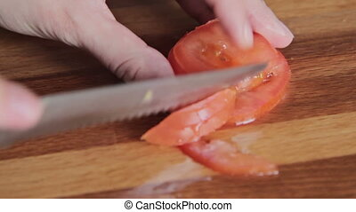 Womans hands cutting mushroom tomato, HD