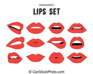 Womans lip emotions gestures set - Womans lip gestures set...