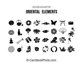 Oriental and Asian icons set isolated over white