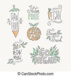Vegan and raw food handmade labels set