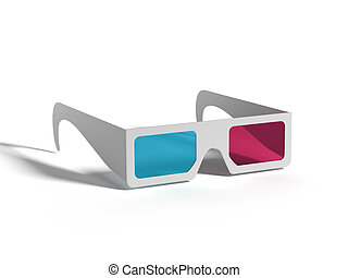 3-D Glasses with cyan and magenta colors isolated on white...