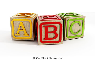 Toy blocks isolated on white - Toy blocks with letters A, B...