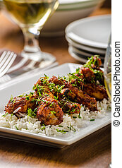 Hot wings with basmati rice - Grilled chicken wings Hot...
