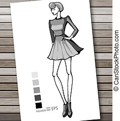 Fashion women in sketch style. Abstract girl. Perfect for any other kind of design. Vector illustration, EPS10.