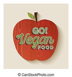 Vegan apple concept illustration with text label