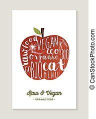 Vegan and raw food apple concept illustration