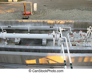 Heat exchangers in a refinery. The equipment for oil...