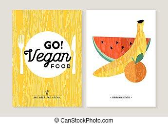 Vegan food illustration designs for healthy eating