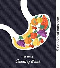 Healthy food: human stomach eating natural fruits