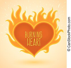 Symbol of burning heart with fire flames. Vector...