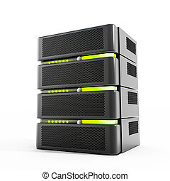 Network servers stack isolated on white background