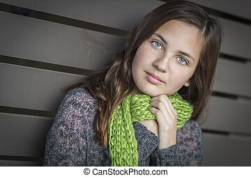 Portrait of Young Pretty Blue Eyed Girl