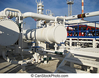 Heat exchangers in a refinery The equipment for oil refining...