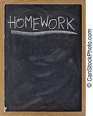 deberes, asignación, pizarra