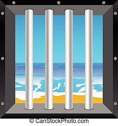 beach in cell illustration in colorful