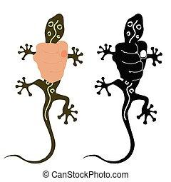 salamander illustration in hand - salamander colorful...