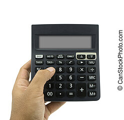 Man hand hold calculator isolated on white background